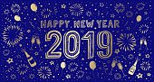 New Year's Eve hand-drawn card 2019. You can edit the colors or sizes easily if you have Adobe Illustrator or other vector software. All shapes are vector