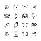 16 New Year's Eve Outline Icons.