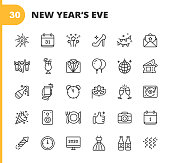 30 New Year's Eve Outline Icons.