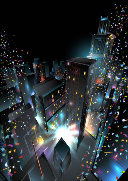New Years Eve in Downtown. Vector Illustration. Eps10 Vector Illustration. changing form stock illustrations