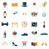 A set of New Year's Eve Party icons. File is built in the CMYK color space for optimal printing. Color swatches are global so it's easy to edit and change the colors.