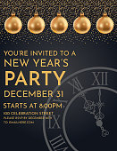Glittering gold 2020 New Year's Eve party invite.