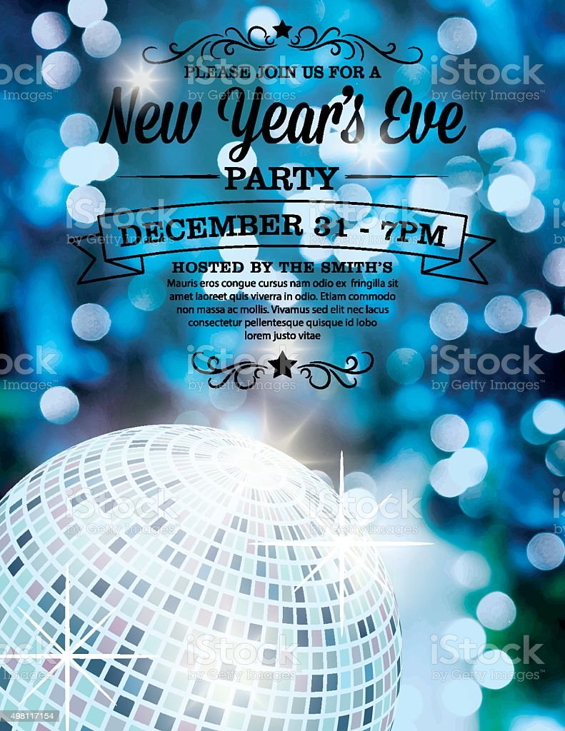 New Years Eve Party Invitation Template Stock Vector Art - New years eve party invitation templates free