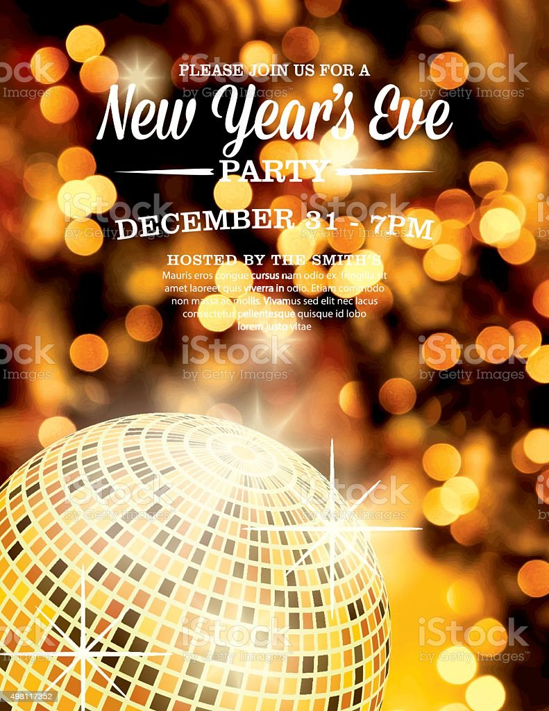 New Years Eve Party Invitation Template Royalty Free Stock