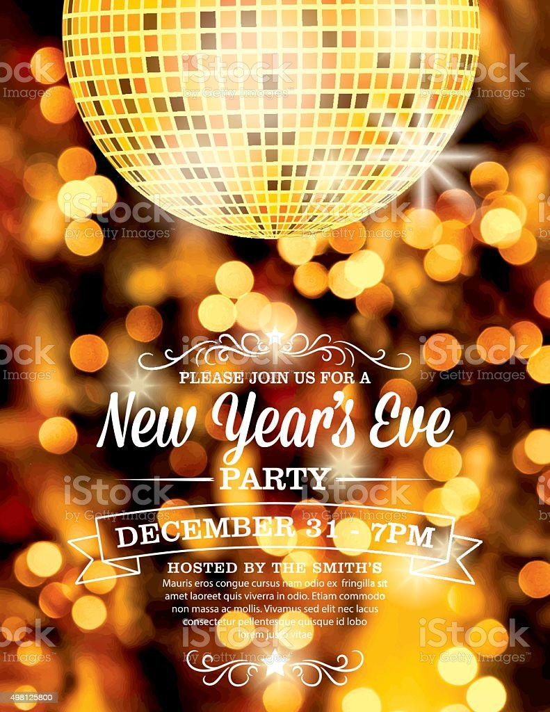 New Years Eve Party Invitation Template Stock Vector Art More - New years eve party invitation templates free