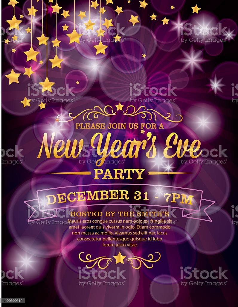 New Years Eve Party Invitation Template Stock Vector Art More