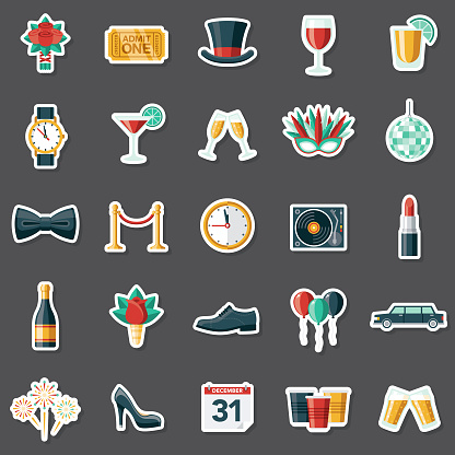New Year's Eve Party Sticker Set