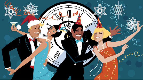 New Year's Eve party stock illustrations