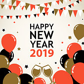 Join the countdown party on the New Year's Eve 2019 with champagne toasts, and the decoration of bunting, balloons and star