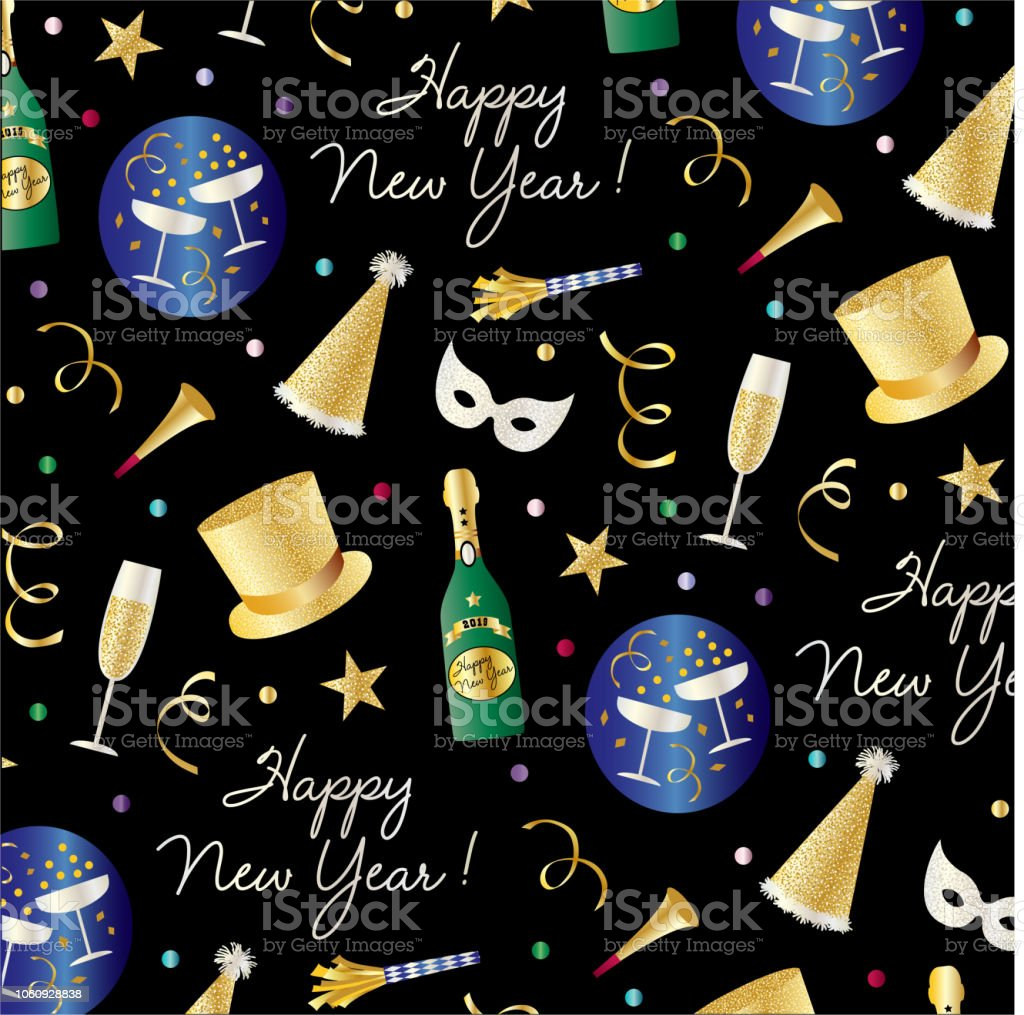New Years Eve Vector Pattern With Top Hats Champagne Masks And