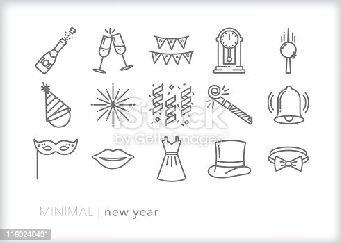 Set of 15 New Year's eve line icons for celebrating a new year at a fancy party