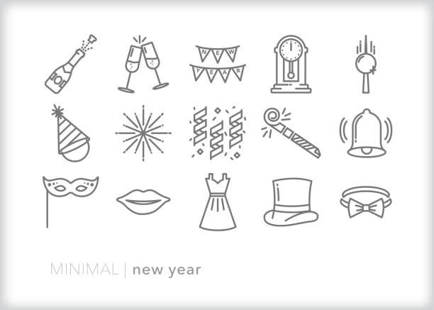 ilustrações, clipart, desenhos animados e ícones de anos novos mesmo jogo do ícone da linha da celebração - new year