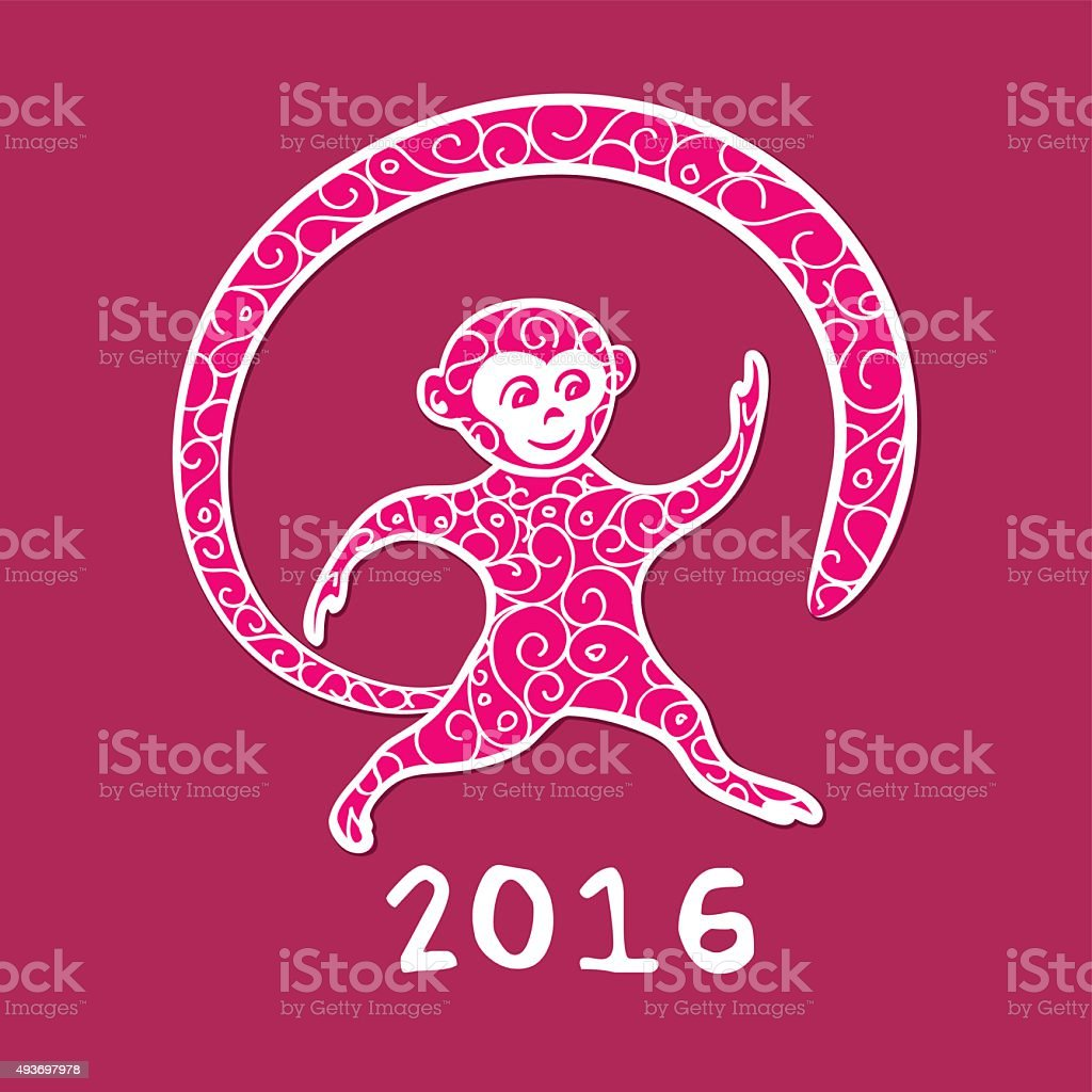New Years Fire Monkey Purple Stock Illustration - Download