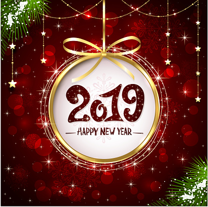 New Years Greeting 2019 on Red Shiny Background