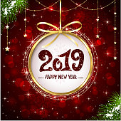 Red shiny background with Christmas decorations, decorative spruce branches, golden stars and beads, holiday lettering Happy New Year 2019, illustration.