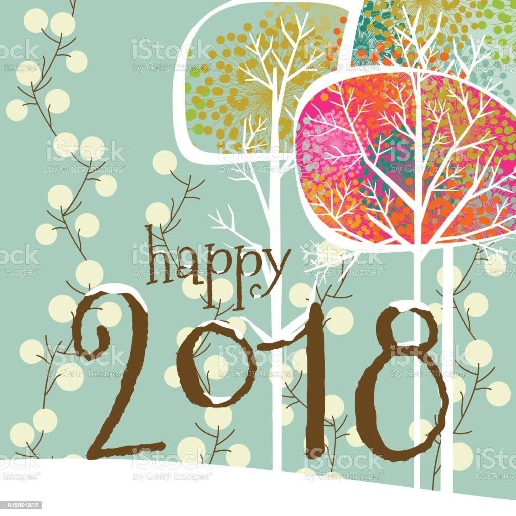 New year's greeting card vector art illustration