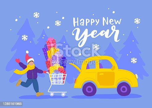 New Years Holidays, Christmas Gifts shopping. A happy young man with a huge pile of gifts in a Shopping cart goes to his car. Vector illustration.