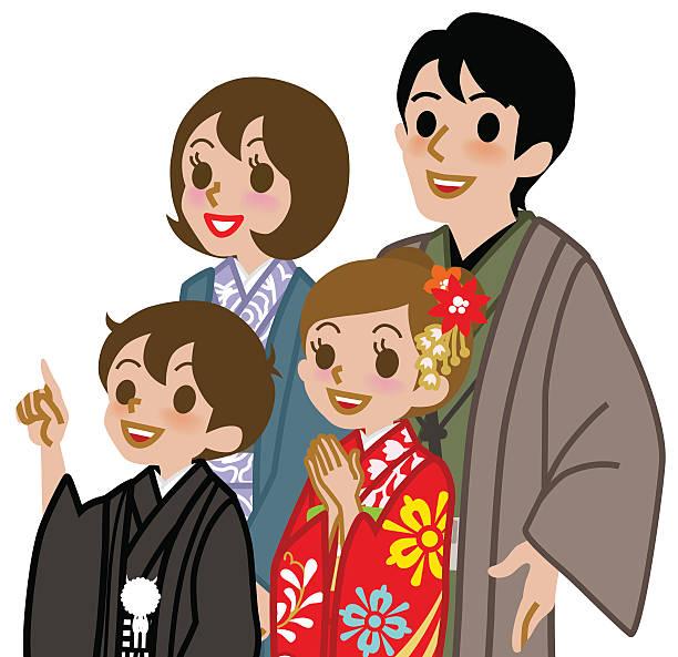 新年の着物家族、上半身 - 家族 日本点のイラスト素材/クリップアート素材/マンガ素材/アイコン素材