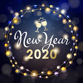 Enjoy the light up party of the New Year 2020 with shiny calligraphy, champagne toast icon and sparkling lights on the blue background