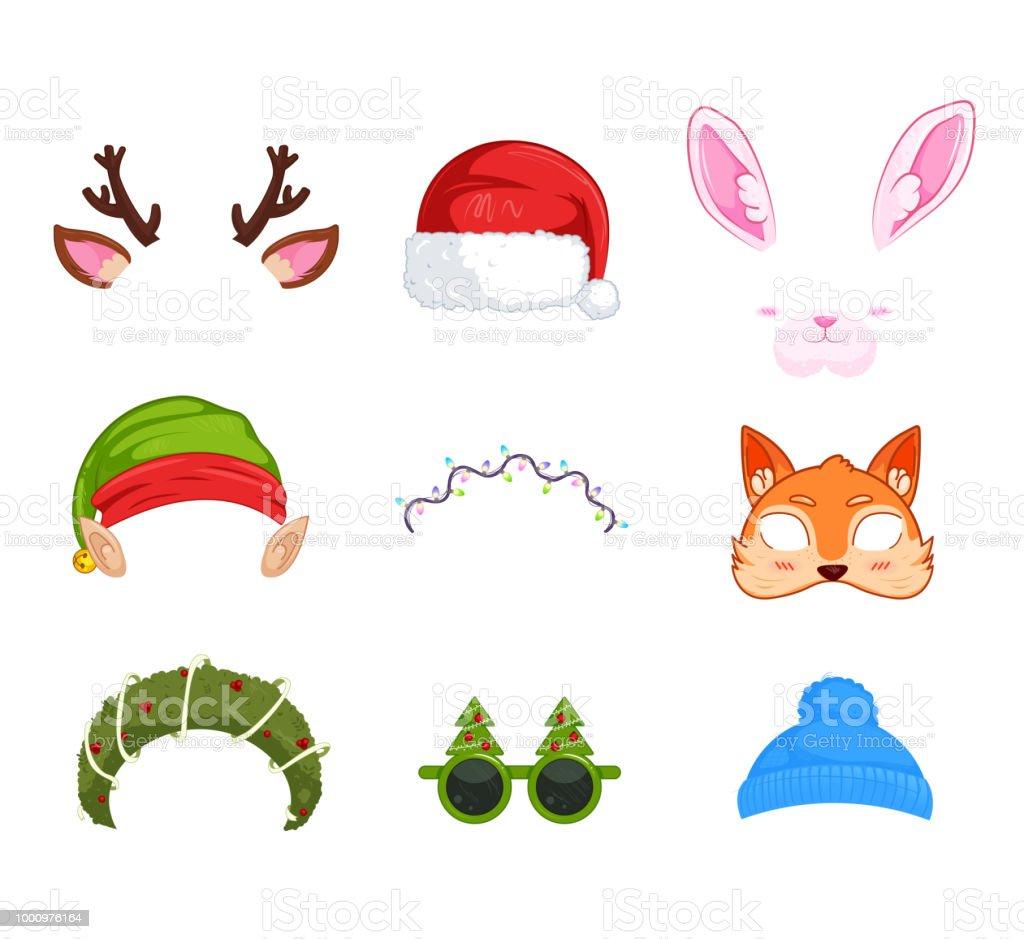 Silvester Masken Für Fotos Weihnachten Clipart Weihnachtsmann Und ...