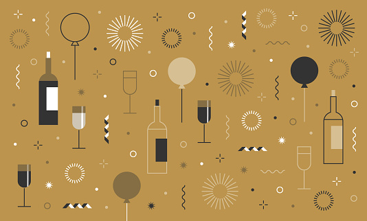 new year's party festive birthday background and icon set