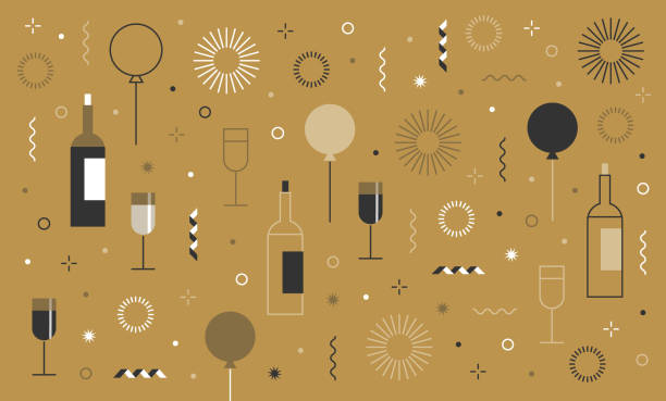 new year's party festive birthday background and icon set You can edit the colors or sizes easily if you have Adobe Illustrator or other vector software. All shapes are vector anniversary backgrounds stock illustrations