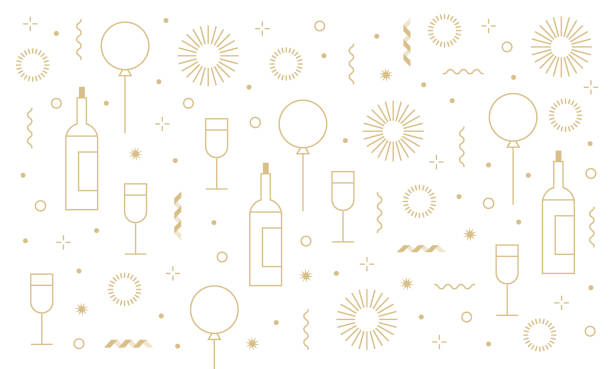 new year's party festive birthday background and icon set You can edit the colors or sizes easily if you have Adobe Illustrator or other vector software. All shapes are vector anniversary patterns stock illustrations