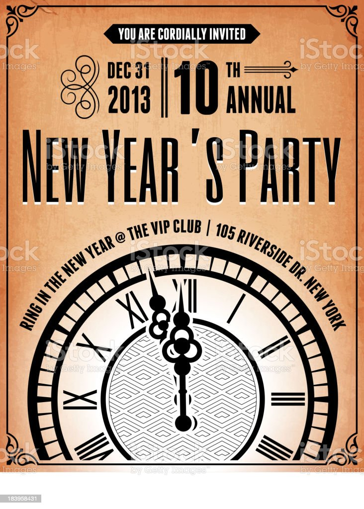 New Years party invitation for 2013 vector art illustration