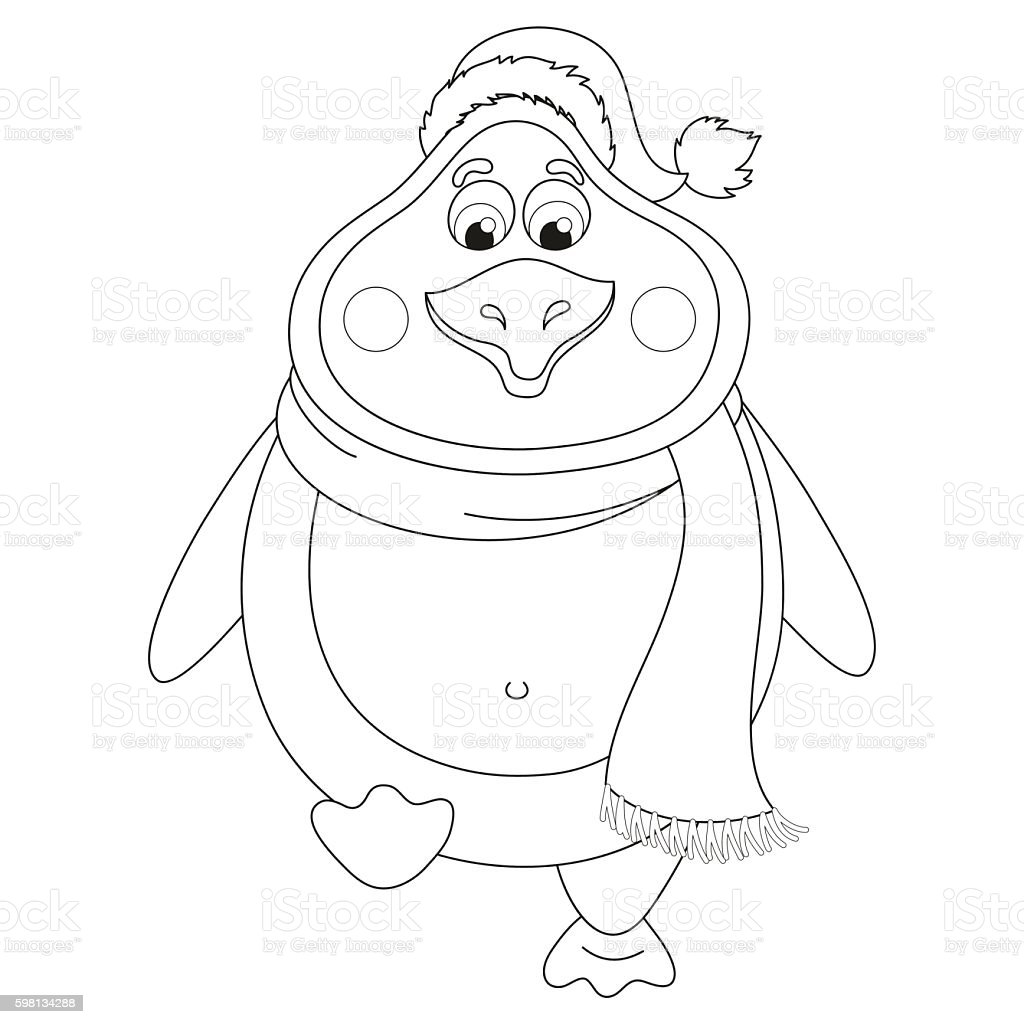 New Year's penguin in hat and scarf walks, coloring
