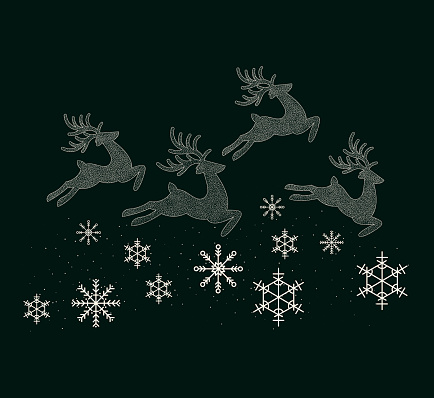 New Year's reindeer are running along the trail of snowflakes.