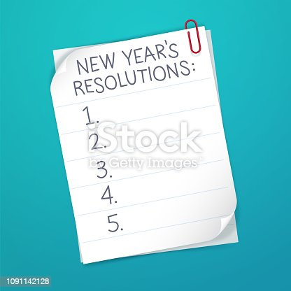New year's resolution numbered list.