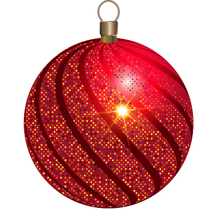New Year's toy. Red ball with sparkling golden splashes. Decor element for the new year 2022.