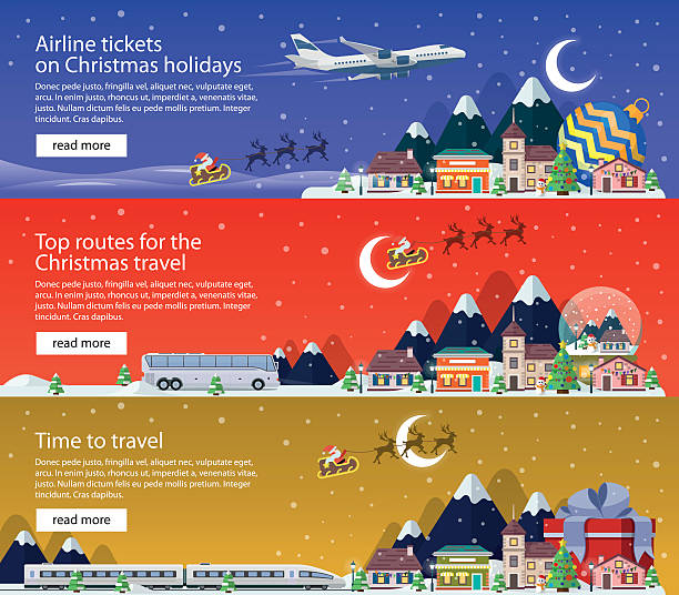 New Year's travel banners in flat style illustration. The vacation. vector art illustration