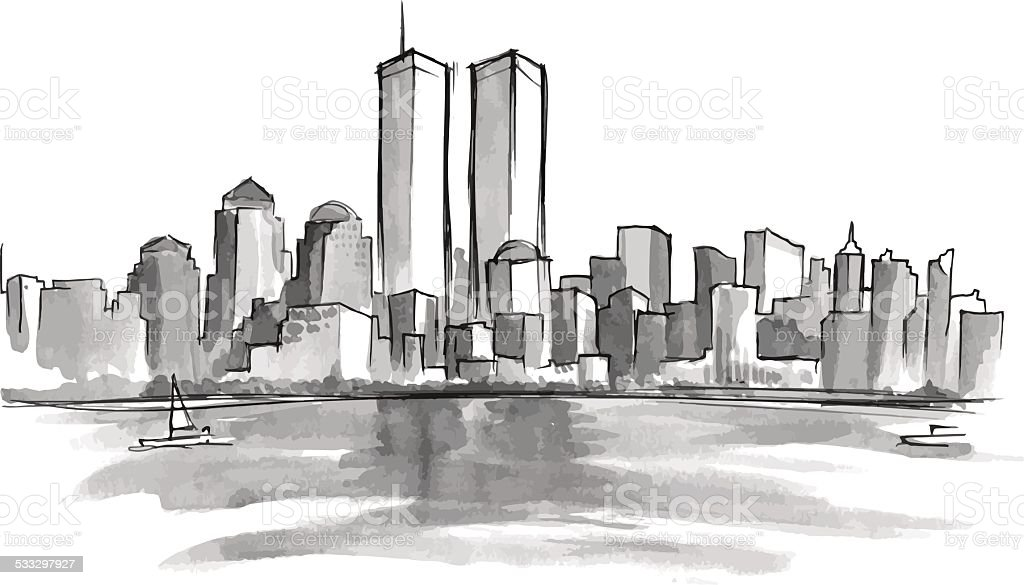 New York 9-11 vector art illustration
