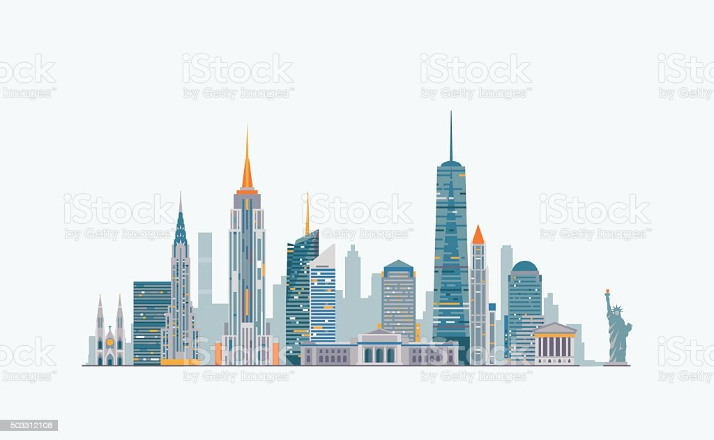 New York abstract skyline vector art illustration