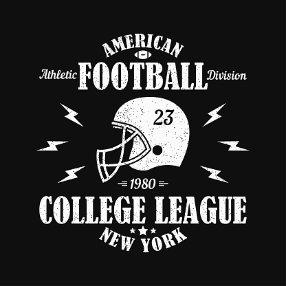 New York, american football grunge print for sports apparel with helmet. Typography emblem for t-shirt. Design for athletic clothes. Vector