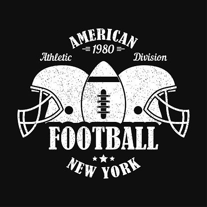 New York, american football print for sports apparel with helmet and ball. Typography emblem for t-shirt. Design for athletic clothes. Vector