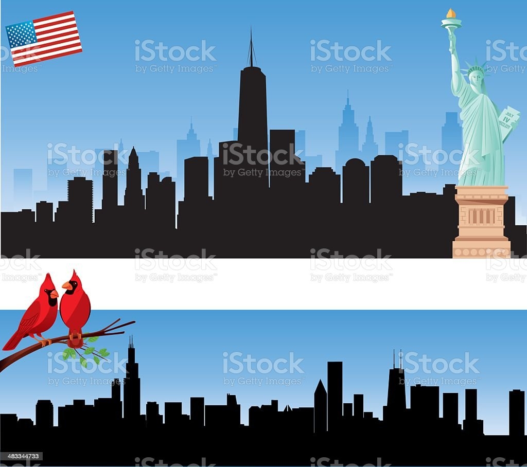 New York and Chicago Skyline vector art illustration