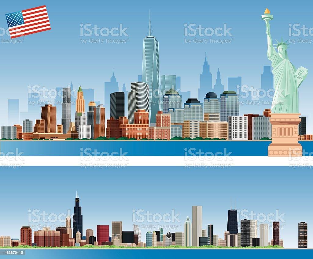 la ciudad de nueva york y de los edificios de chicago libre de derechos libre