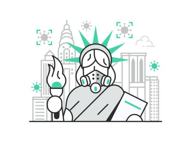 ニューヨークとアメリカの検疫コンセプト - corona newyork点のイラスト素材/クリップアート素材/マンガ素材/アイコン素材