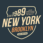 New York, athletic sport typography for t shirt print. Varsity style. T-shirt graphics