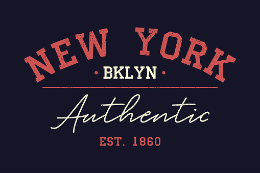 New York authentic typography for t-shirt. Vintage print for t shirt design. Graphics for retro original apparel. Vector