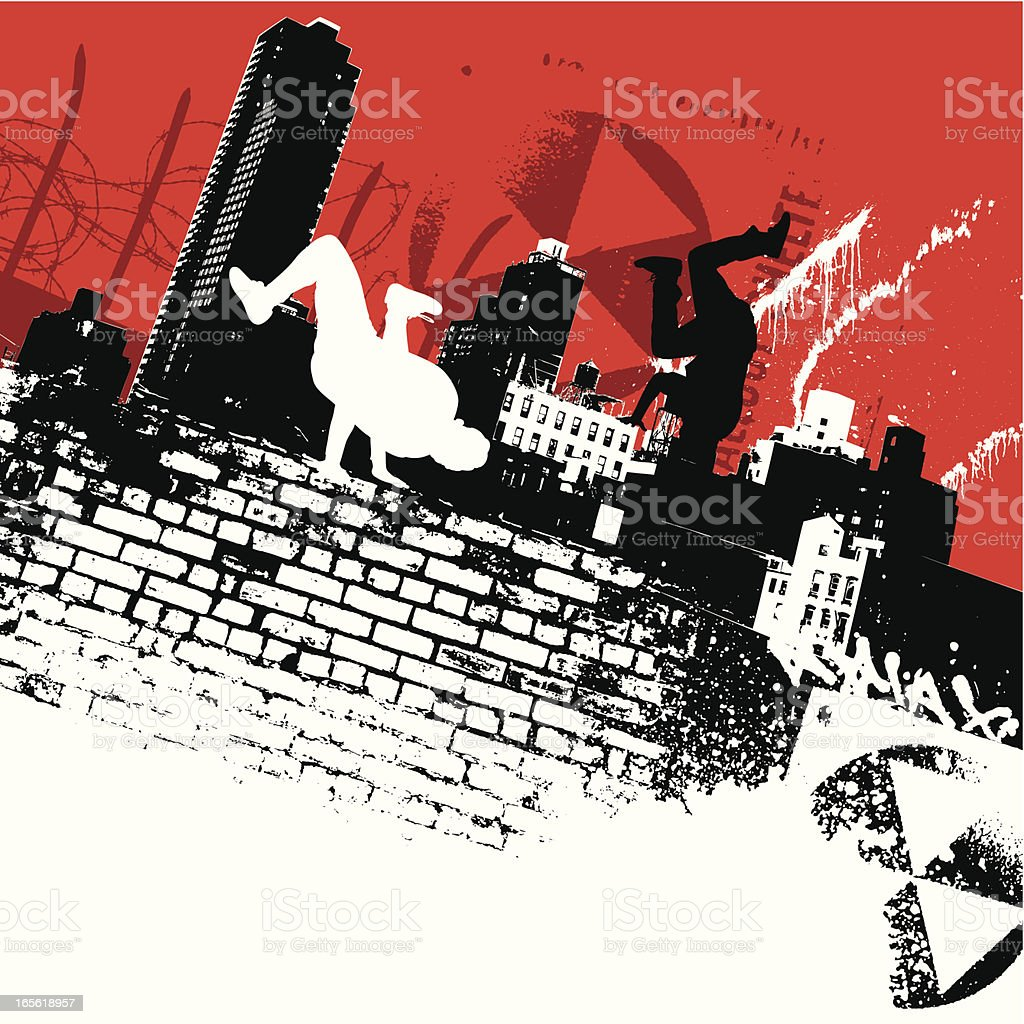 New York b-boys vector art illustration