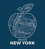 New York big apple t-shirt graphic design with city map.