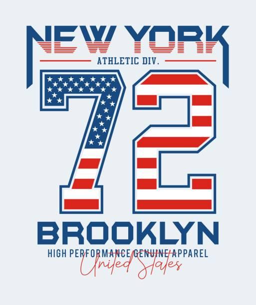 new york brooklyn 72 usa flagg-stil-set nummer, typografie-design für t-shirt-print - posterstile stock-grafiken, -clipart, -cartoons und -symbole