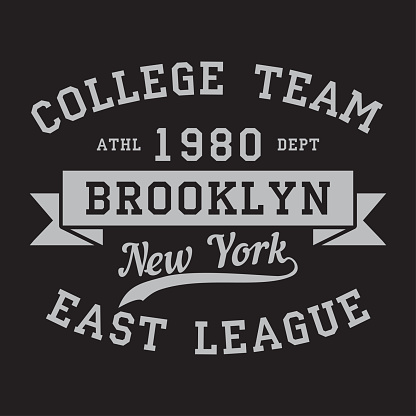 New York, Brooklyn - print logo. Graphic design for t-shirt, sport apparel. Typography for clothes. College team, east league. Vector
