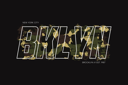 New York, Brooklyn t-shirt design with with camouflage texture and slogan - Bklyn. Typography graphics for apparel design with camo in military army style. Vector