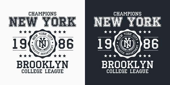 New York, Brooklyn typography for design clothes. Graphics for print product, t-shirt with grunge, vintage sport apparel. Champions of college league. Vector