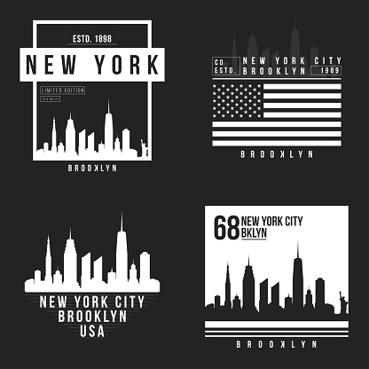 New York, Brooklyn typography for t-shirt print. New York City skyline for tee graphic. T-shirt design collection