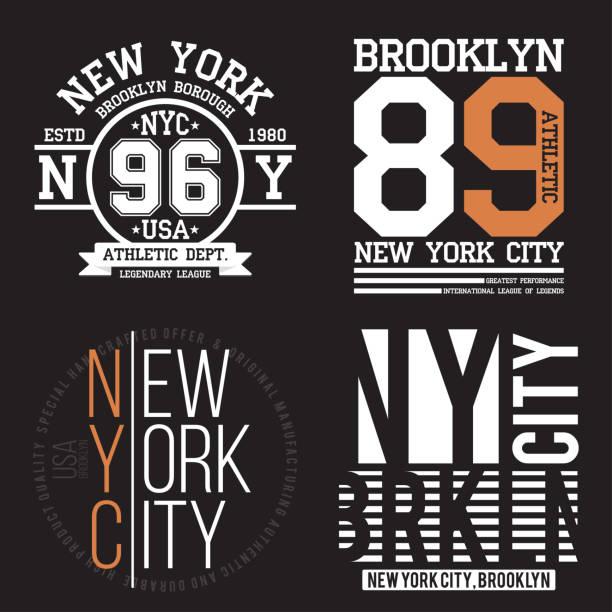 Nueva York, tipografía de Brooklyn para la impresión de la camiseta. Deportes, conjunto de gráficos de camiseta atlética. Insignia de colección - ilustración de arte vectorial